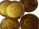 Lot of 5 - 1908 $5 Gold Indian Replica Coins