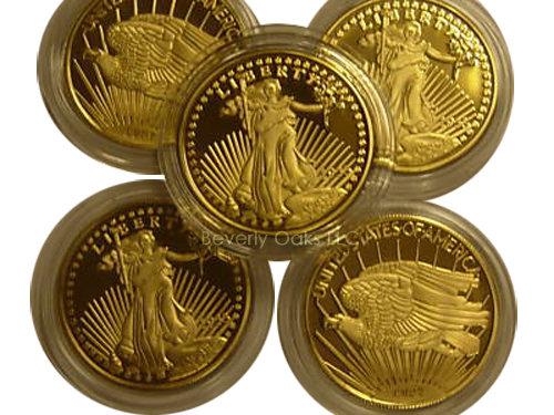 Lot of 5 - 1933 $20 St. Gauden Gold Replica Coins