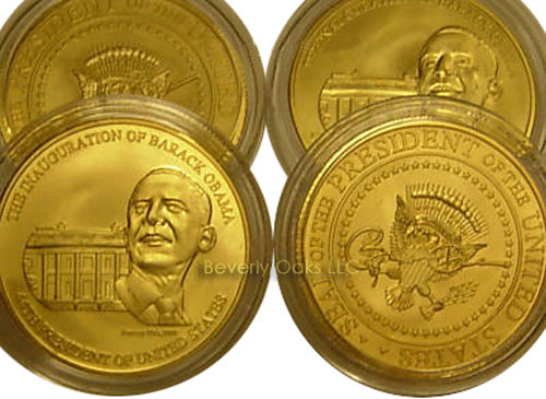 Lot of 20 - Gold Barack Obama Signed Inauguration Coins