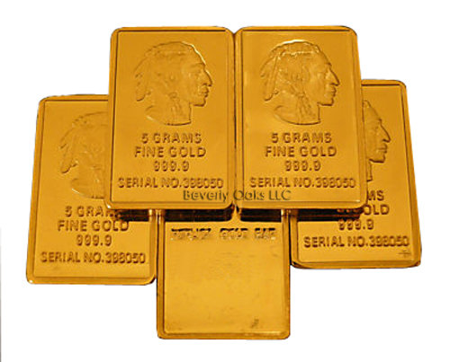 Lot of 5 - 5g Gold Buffalo Indian Copy Bars