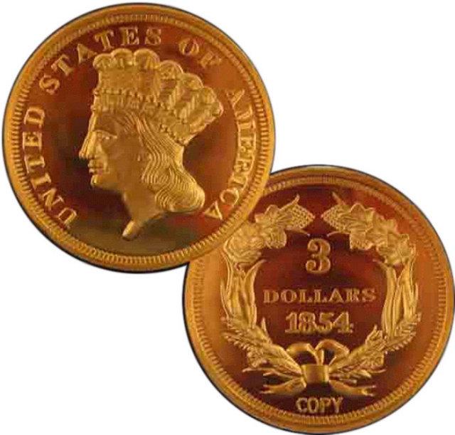 1854 $3 Indian Princess Head Gold Coin - Replica
