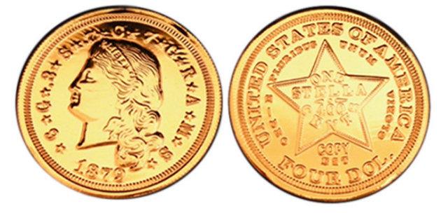 1879 $4 Stella Flowing Hair Gold Coin - Replica