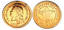1879 $4 Stella Flowing Hair Gold Coin - Replica