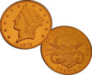 Lot of 100 - 1870 CC $20 Liberty Double Eagle Gold Coins - Replica
