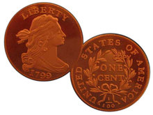 Lot of 50 - 1799 Draped Bust Large Cent Cameo Proof Finish - Replica