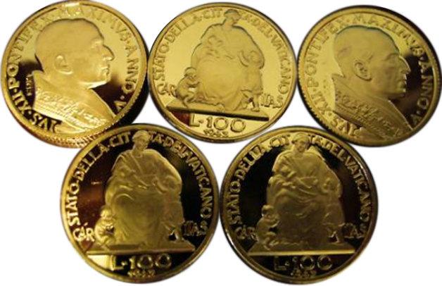 Lot of 50 - 1943 100 Lire Vatican Pope Gold Coins - Replica