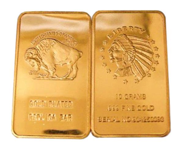 Lot of 10 - Ten Grams American Buffalo Gold Bars - Replica