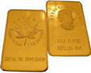 One Troy Ounce Canadian Maple Leaf Gold Bar - Replica
