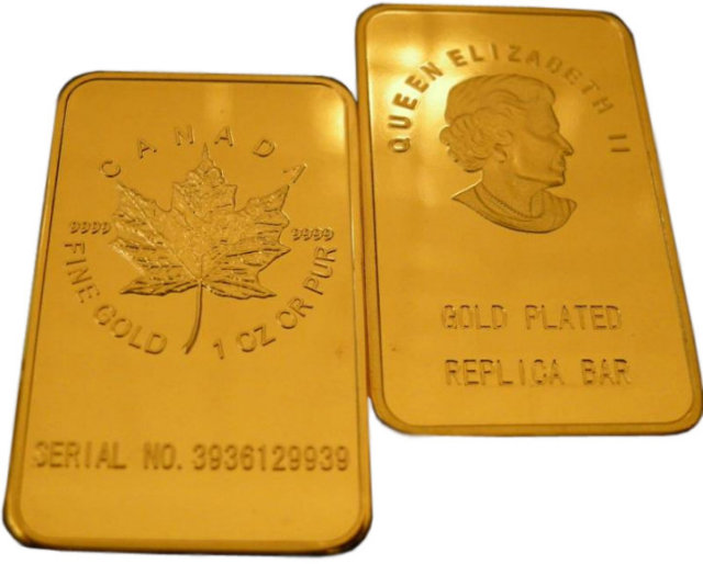 Lot of 5 - 1 Troy Ounce Canadian Maple Leaf Gold Bars - Replica