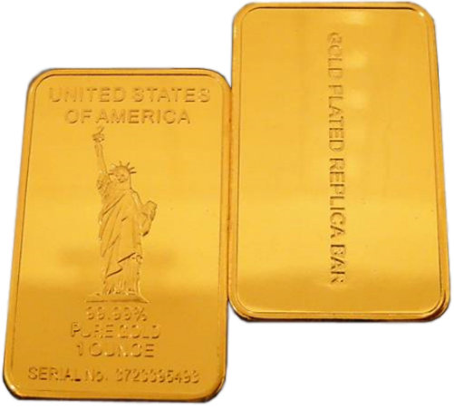 Lot of 100 - Statue of Liberty One Troy Ounce Gold Bars - Replica