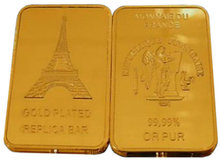 Lot of 5 - Eiffel Tower One Troy Ounce Gold Bars - Replica