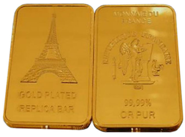 Lot of 10 - Eiffel Tower One Troy Ounce Gold Bars - Replica