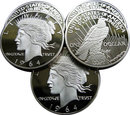 Lot of 5 - 1964-D $1 Peace Silver Dollar Coins - Replica