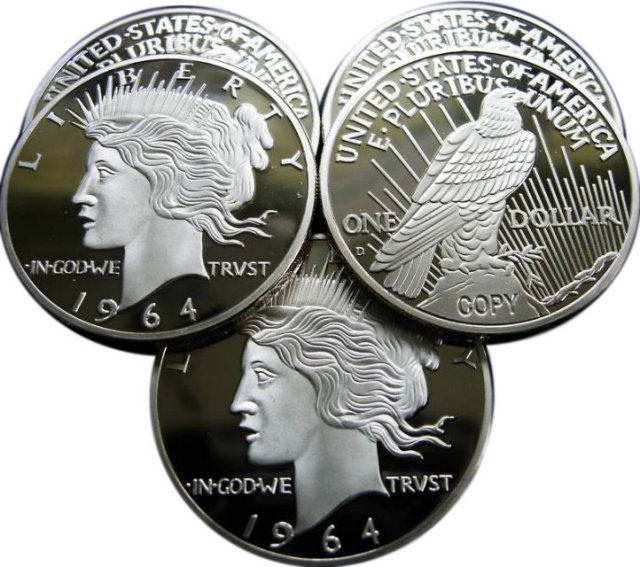 Lot of 100 - 1964-D $1 Peace Silver Dollar Coins - Replica
