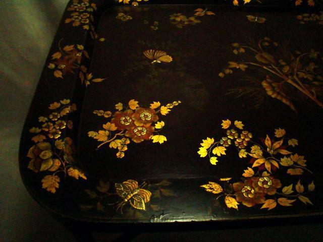 Antique Victorian English Paper Papier Mache' Lacqured Tea Tray