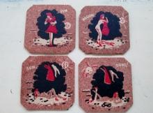 Set of 4 Vintage Naughty Cork Coasters - Fun Begun Sun Done