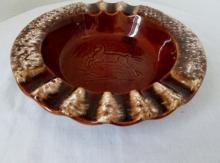 Vintage Hull USA Brown Drip Ashtray With Embossed Deer 8