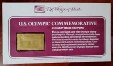 U.S. Olympic Commemorative 23 Karat Gold/.950 Pure 1980 Stamps (4)