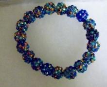 Shamballa beaded bracelet and earrings, copper blue