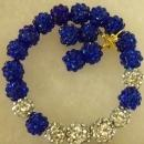 Shamballa baited bracelet and earrings royal blue and silver
