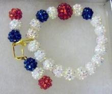 Shamballa Red white and blue earrings and bracelets