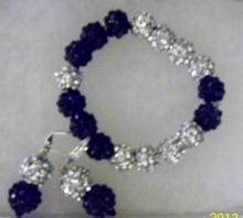 Shamballa black and silver earrings and bracelets