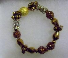 Shamballa gold and glass clusters  bracelet