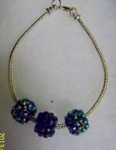 Shamballa green beads with silver tone bracelet