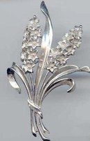 SALE Crown Trifari Silver tone Flowers Pin