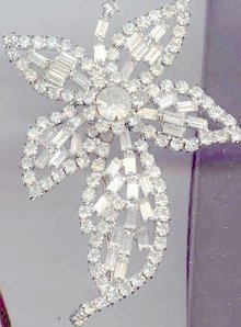 SALE Stunning Rhinestone Flower Pin Huge