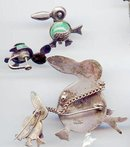 SALE Sterling Silver Vintage ducks and duck