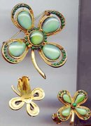 Four Leaf Clover Pin and Earrings