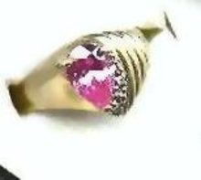 SALE Stunning  Pink Ice 14kt  gold ring with