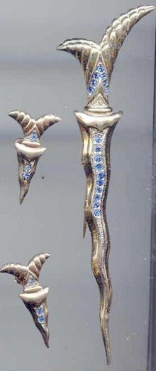 SALE Stunning Vintage Sword Pin and Earrings