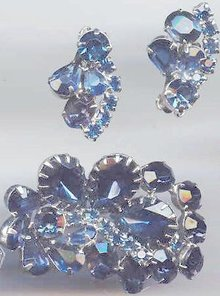 SALE Cobalt Blue stunning Brooch and earrings