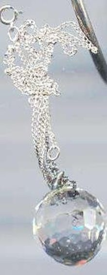 SALE Glass Crystal Ball Necklace with Chain
