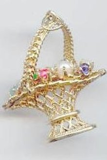 SALE Stunning 14kt  y gold Basket with 9 Gems