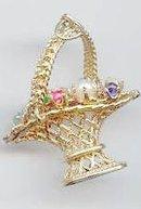 SALE Stunning 14kt  y gold Basket with 9 Gems