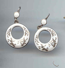 SALE White Siam Circle Earrings