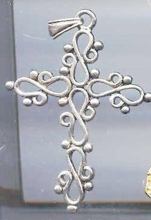 SALE Silver tone Cross