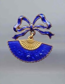 SALE Cobalt Blue enameled Fan Pin