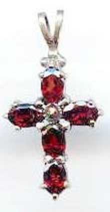 SALE Sterling Cross with Garnets