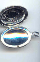 SALE Silver tone Locket with Etchings