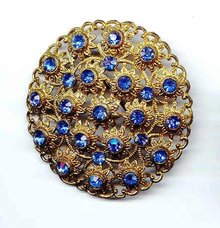 SALE Blue Rhinestone Filigree Vintage Enticing