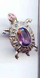 SALE Sterling  Turtle with Amethyst  Pin