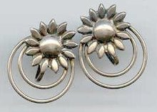 SALE Sterling Flower Earrings Screw back