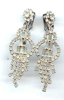 SALE Elegant Long Rhinestone Earrings for the