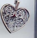 SALE Sterling and Garnet signed FM  Heart