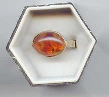 SALE Amber and 14kt gold ring
