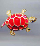 SALE Cute Red enamel turtle Pin